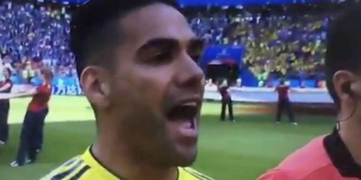 La emoción de Radamel Falcao García en el himno de Colombia