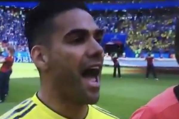 Emoción de Radamel Falcao García en el himno de Colombia