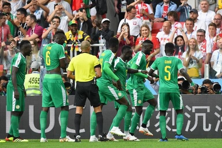 La celebración de los jugadores de Senegal