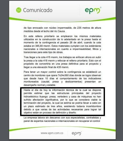 Informe Financiero EPM Hidroituango