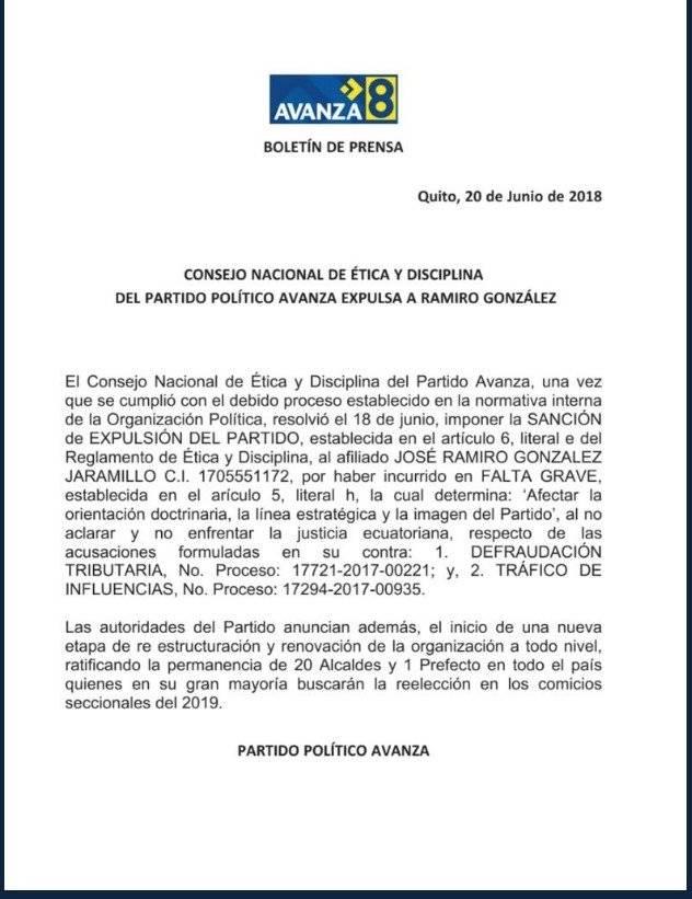 Avanza expulsa a Ramiro González del partido