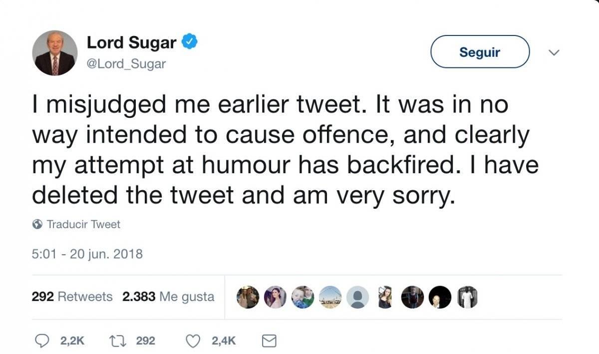 Sugar se disculpa tras su polémico tuit.