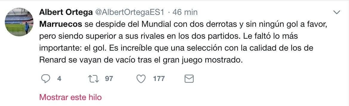 La afición mostró su tristeza por la eliminación de Marruecos.