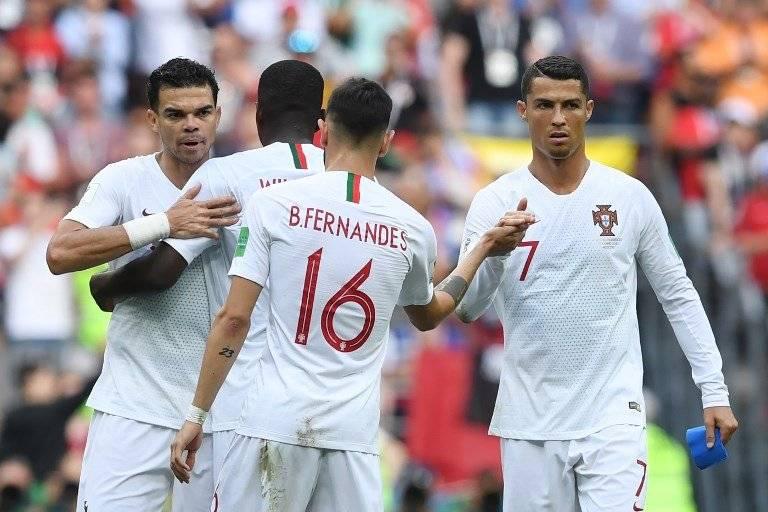 Los jugadores lusos celebraron tras el triunfo ante Marruecos