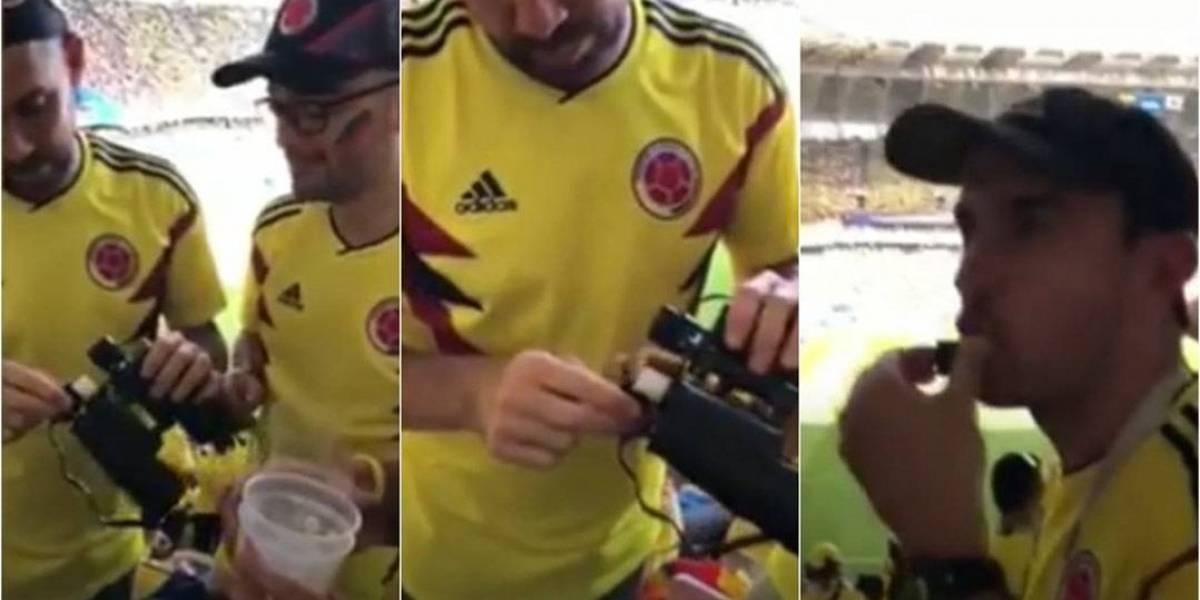 Torcedores da Colômbia levam bebida no binóculo