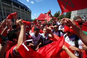 Gran ambiente se vivió en la previa del partido entre Portugal y Marruecos