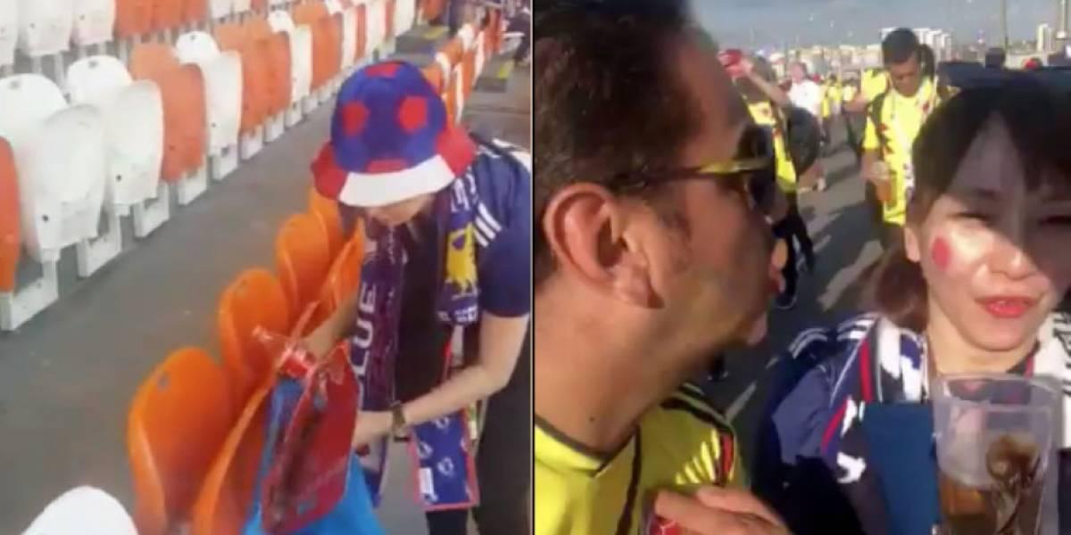 Mientras los japoneses recogen la basura del estadio, los colombianos insultan a mujeres extranjeras