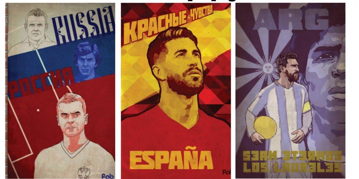 Futbolistas en carteles de propaganda soviéticos
