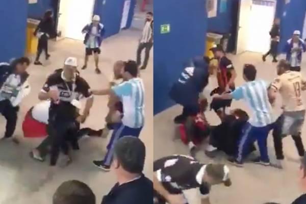 Hinchas argentinos golpearon fuertemente a un seguidor croata