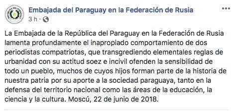 Disculpa de embajada paraguaya por comportamiento de periodistas