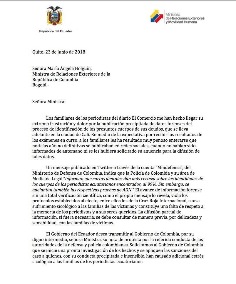 Nota de protesta de Ecuador a Colombia Cortesía