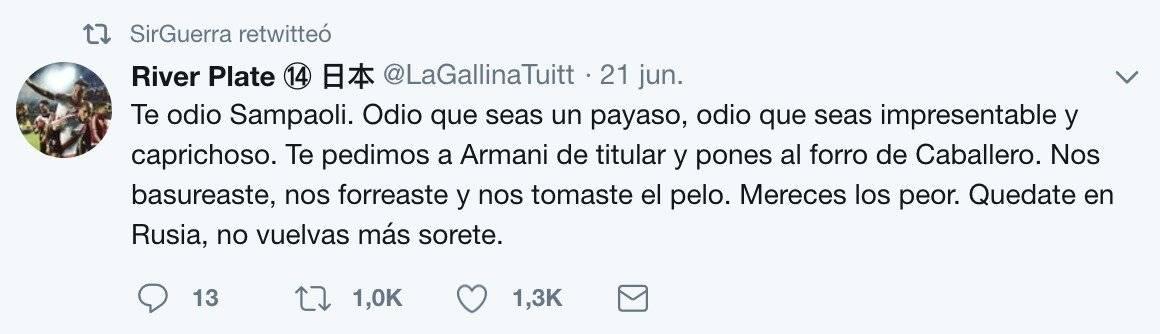Tuit para Sampaoli