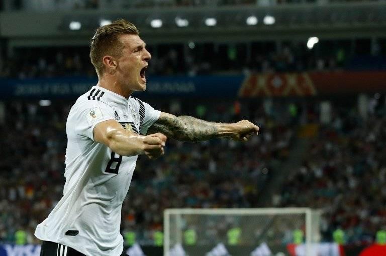 Kroos celebra el agónico gol que marcó