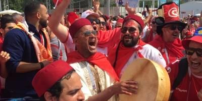 La afición de Túnez cantó previo al juego