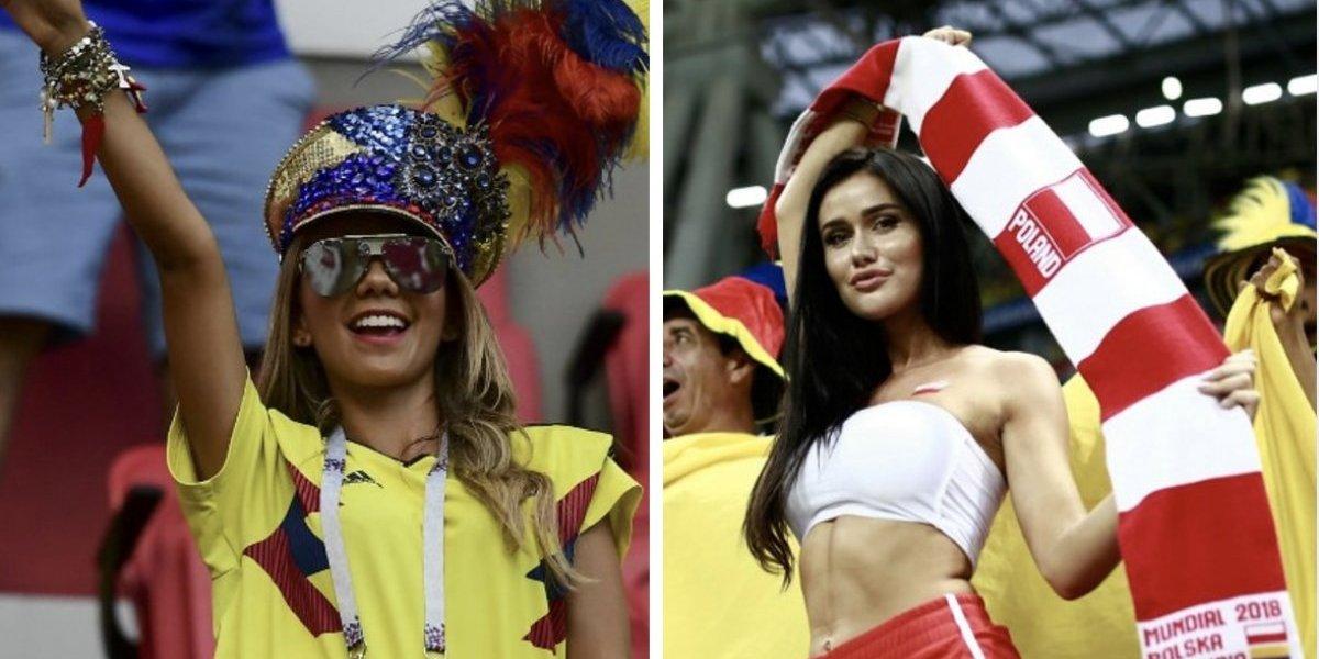 ¡Bellezas! Las espectaculares aficionadas de Colombia y Polonia en el Mundial de Rusia