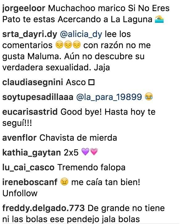 Comentarios hacia Maluma Instagram