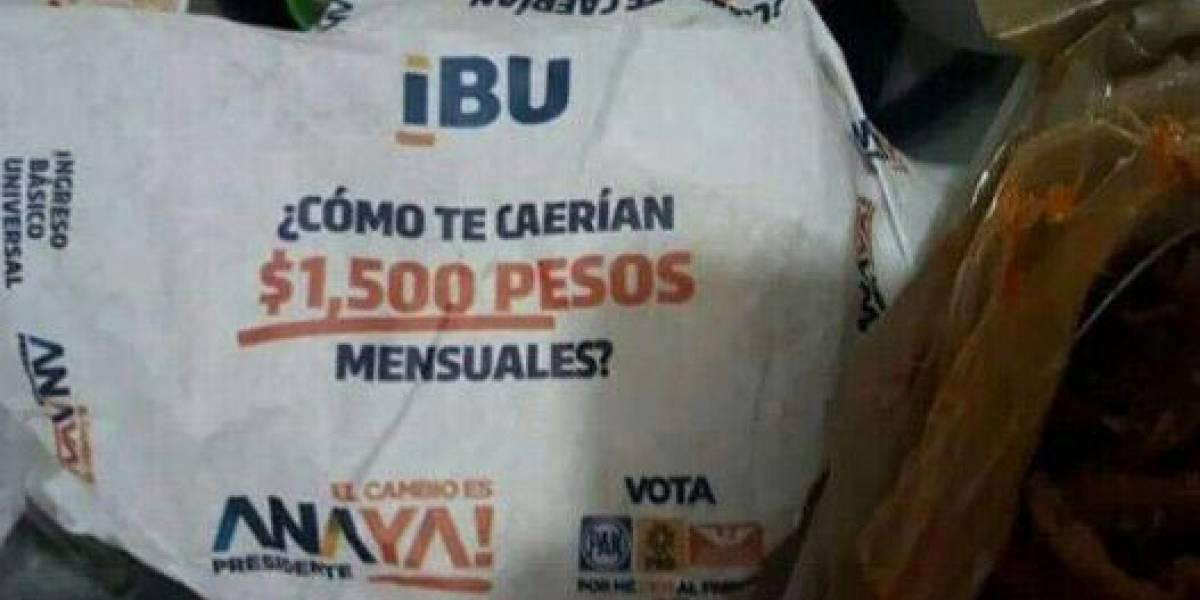 INE ordenasuspender propaganda de Anaya en papel para envolver tortillas