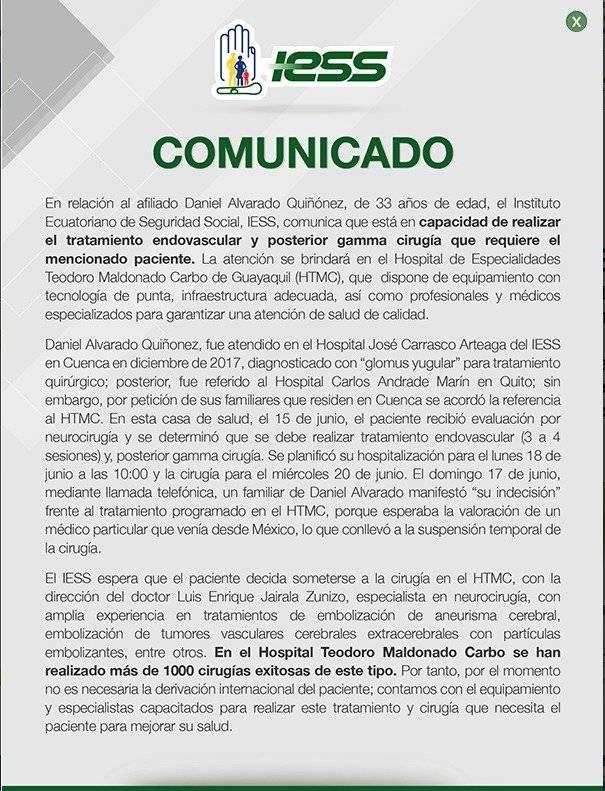 Comunicado del IESS ante el caso de Daniel Alvarado