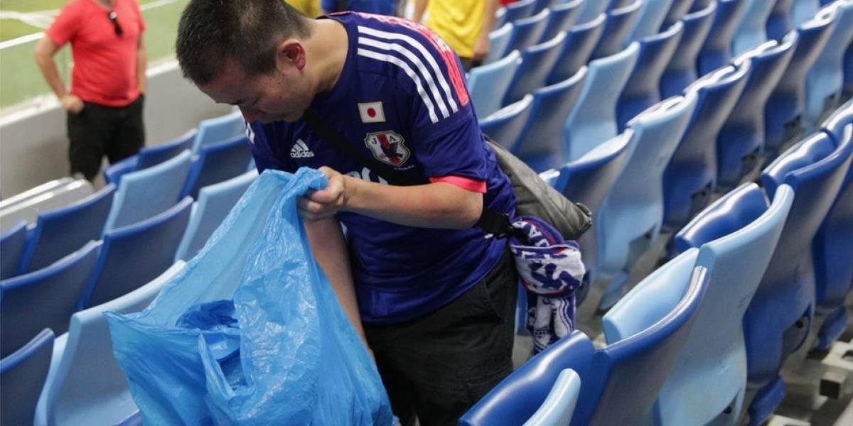 """""""Mania"""" dos torcedores japoneses de recolher o lixo se espalha na Copa da Rússia"""
