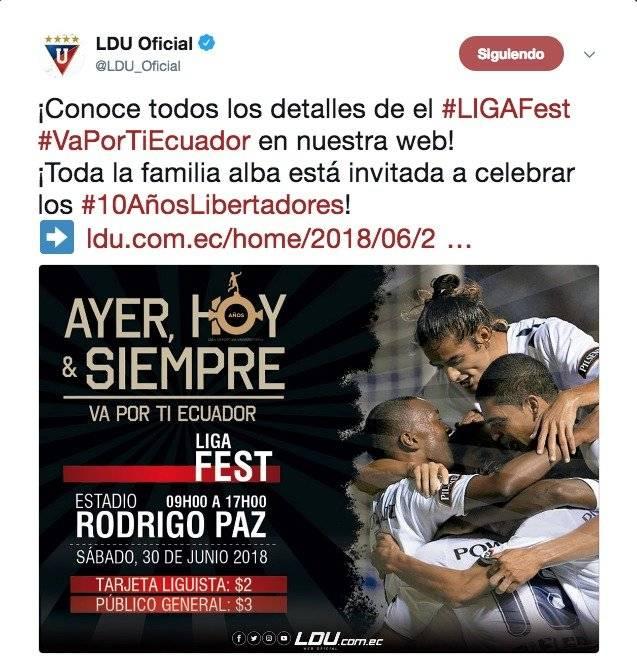 Liga de Quito botará la casa por la ventana en el Rodrigo Paz por los 10 años de la Copa Libertadores