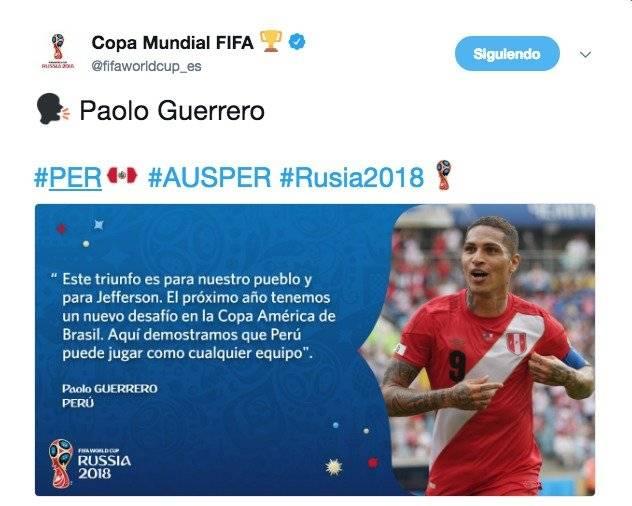 Perú vs Australia: Paolo Guerrero envió un emotivo mensaje a los miles de aficionados que los apoyaron Captura de pantalla