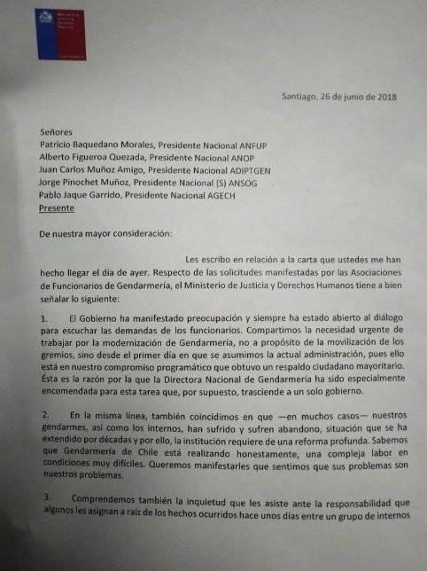 Carta del ministro de Justicia a Gendarmes