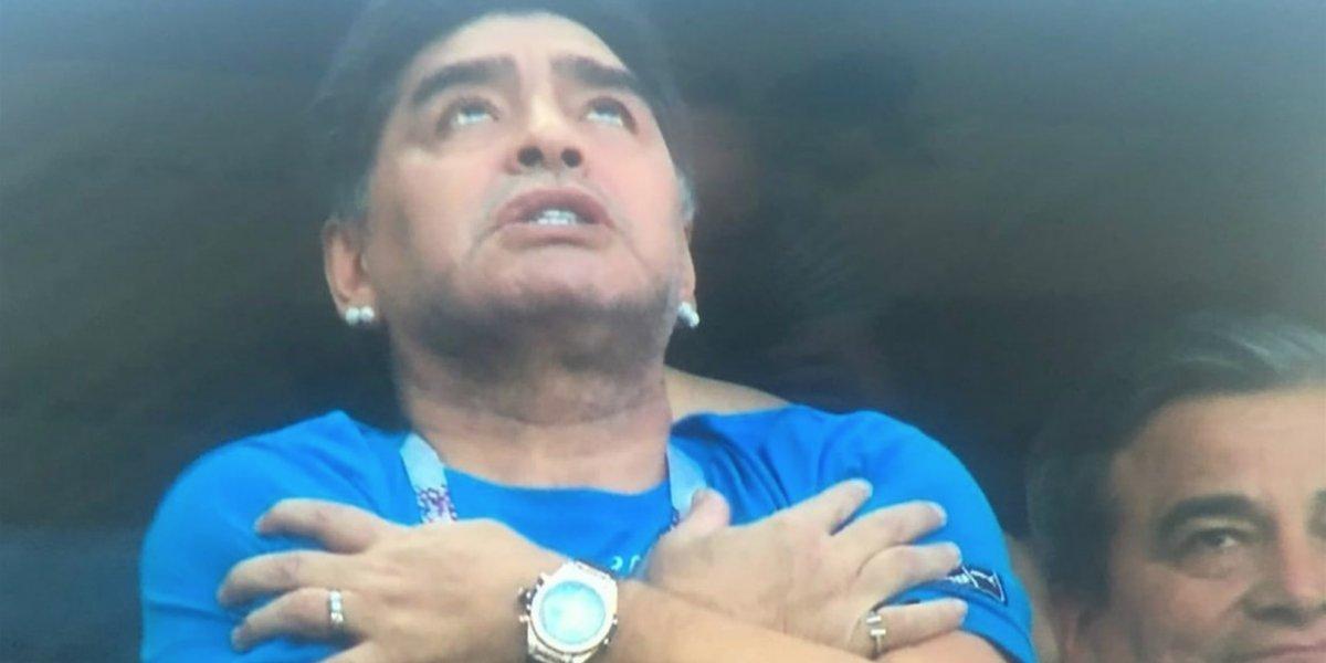 Así celebró Maradona el gol de Messi en Rusia 2018
