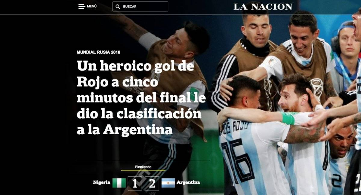 Así reseña la prensa Argentina el pase a octavos de la albiceleste de Lionel Messi Captura de pantalla