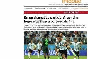Así reseña la prensa Argentina el pase a octavos de la albiceleste de Lionel Messi