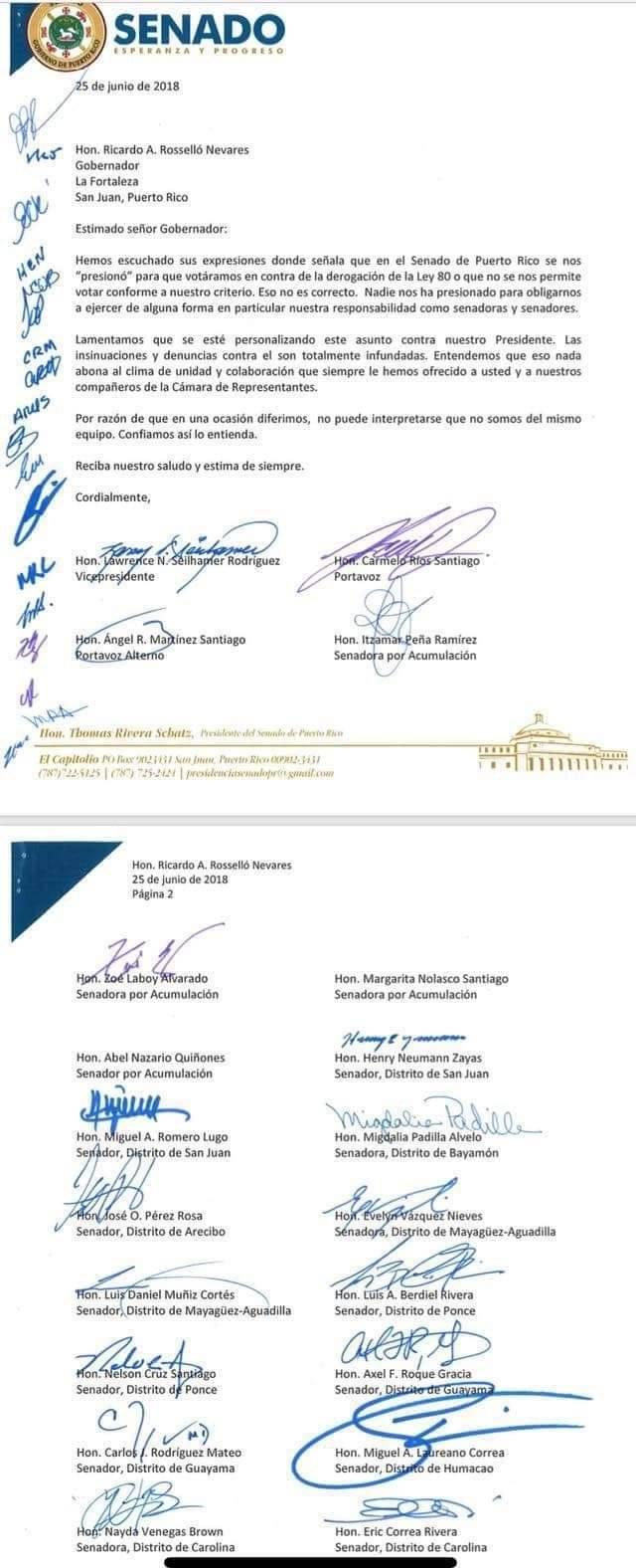Carta Senadores