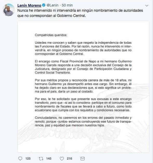 Lenín Moreno sobre cargo de Fiscal de su hermano