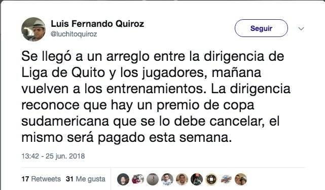 Liga de Quito vuelve a entrenar