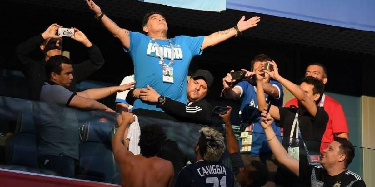 La cómica celebración de Maradona tras el gol de Messi