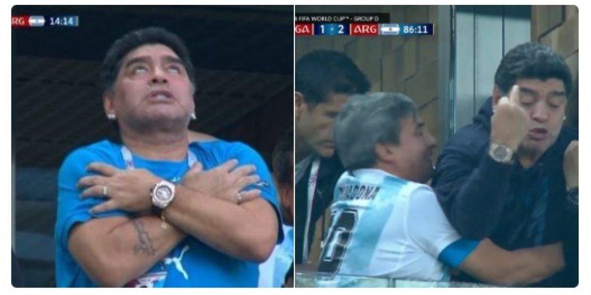 Copa do Mundo: Maradona rouba a cena com comemorações bizarras no jogo Nigéria x Argentina