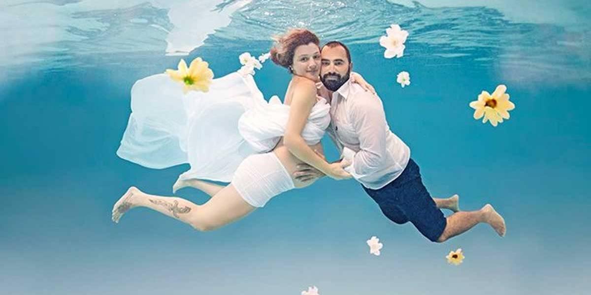 Ex-participante do MasterChef faz ensaio de gravidez debaixo d'água