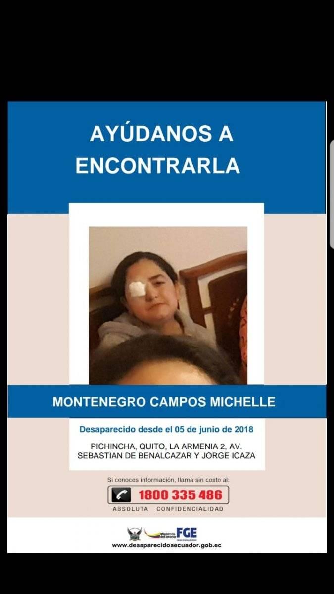 Michelle Montenegro, desaparecida desde el 5 de junio Ministerio del Interior