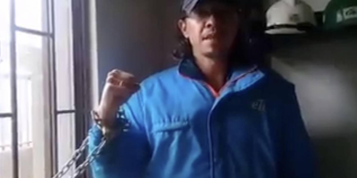 Trabajador de la ETB se encadenó para denunciar despido que considera injustificado