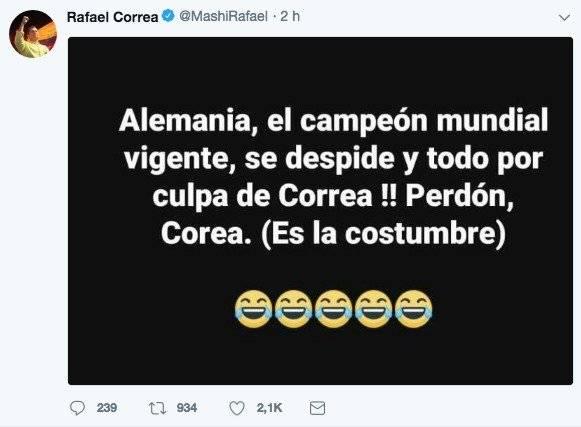 Rafael Correa hace chiste sobre eliminación de Alemania del Mundial Rusia 2018