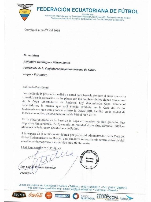 Carta de la FEF hacia la CONMEBOL