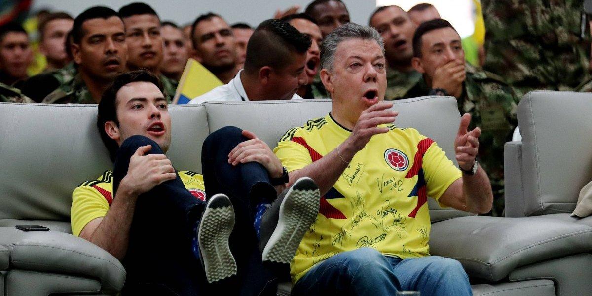 Sin mucho más por qué preocuparse, así celebró Santos la clasificación de Colombia