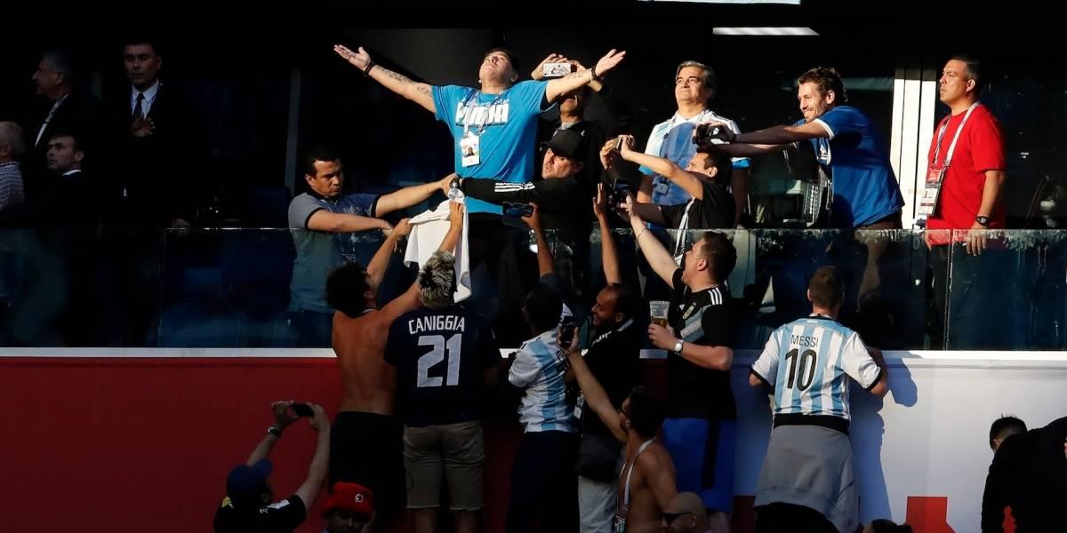 Así vivió Maradona el partido de la Selección
