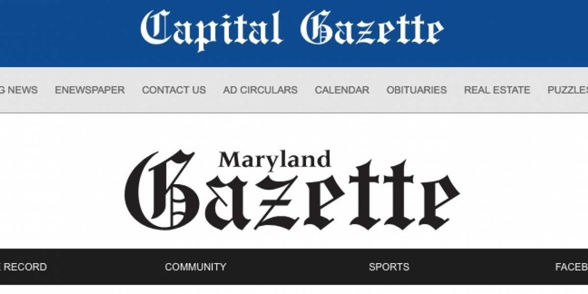 Reportan tiroteo en periódico en Maryland
