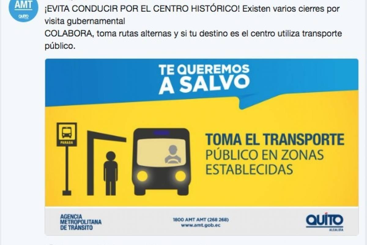Cierres viales en Quito @AMTQuito