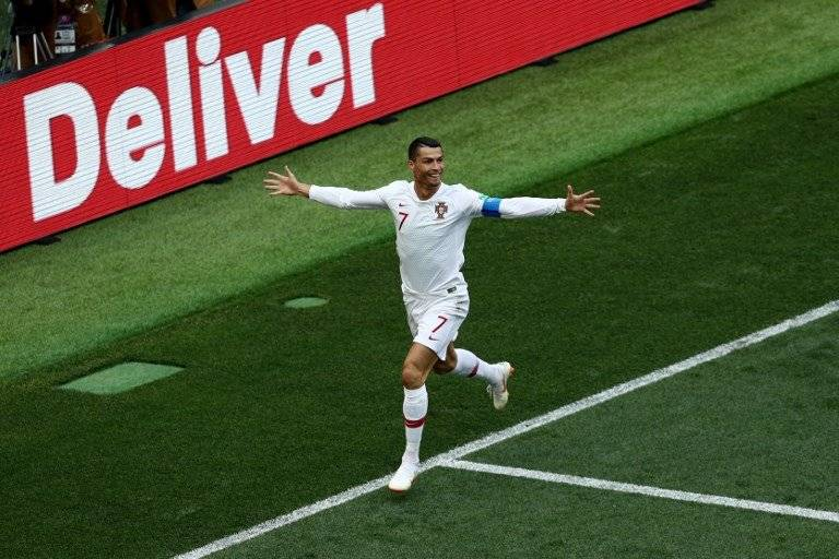 La celebración de Cristiano tras su gol ante Marruecos