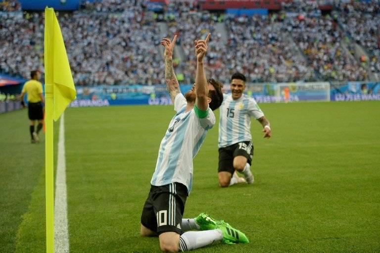 Así celebró Messi su tanto ante Nigeria