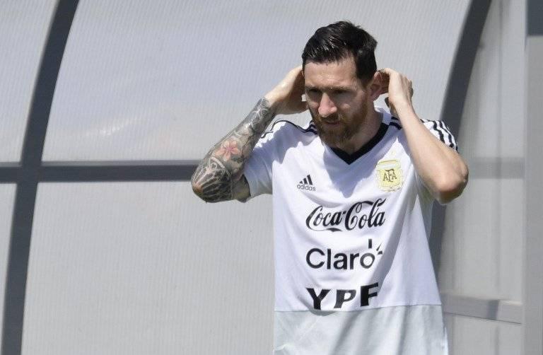 Messi en la práctica del equipo argentino