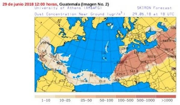 polvo del Sahara en Guatemala