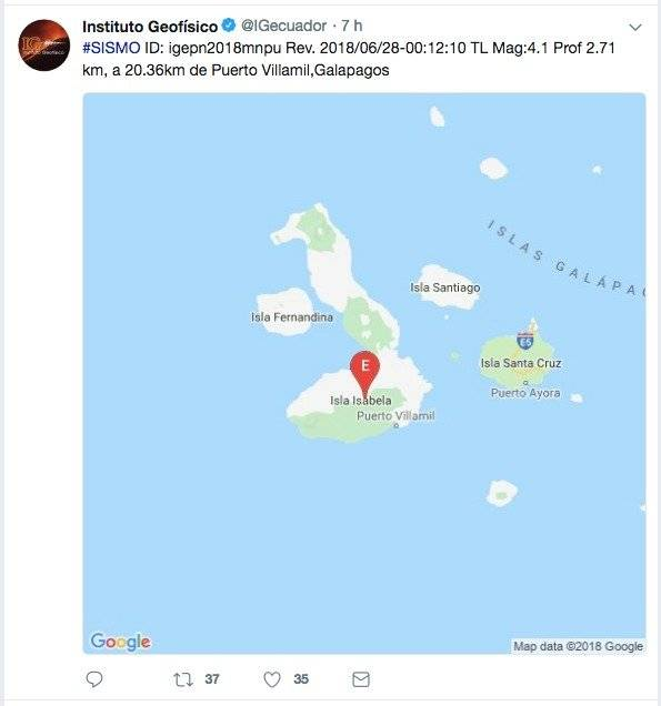 3 sismos se registraron el Galápagos