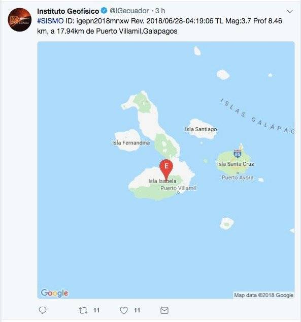 tres sismos se registraron Galápagos