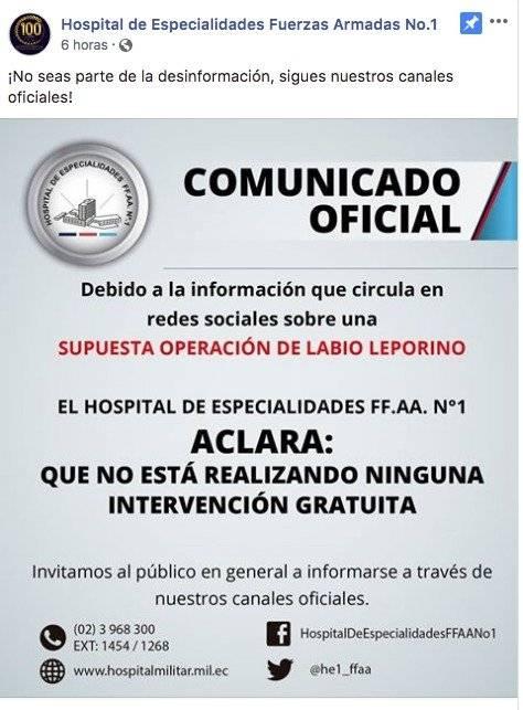 Hospital Militar desmiente información sobre operación del labio leporino Facebook